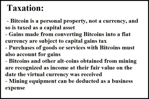 Bitcoin tax list