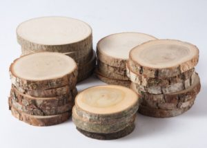 wooden discs piled